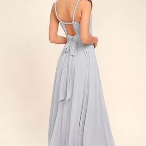 Lulus Light Grey Maxi Bridesmaid Dress SZ Med
